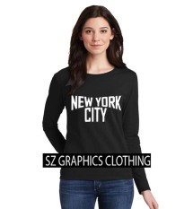 Sz Graphics/New York City2/Long Sleeve Wanita/Kaos Lengan Panjang Wanita/T Shirt Wanita/Kaos Wanita/T Shirt Fashion Wanita/T Shirt Kaos Distro -Black
