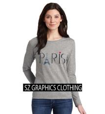 Spek Sz Graphics Paris Long Sleeve Wanita Kaos Lengan Panjang Wanita T Shirt Wanita Kaos Wanita T Shirt Fashion Wanita T Shirt Kaos Distro Misty