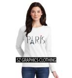Toko Sz Graphics Paris Long Sleeve Wanita Kaos Lengan Panjang Wanita T Shirt Wanita Kaos Wanita T Shirt Fashion Wanita T Shirt Kaos Distro Putih Yang Bisa Kredit