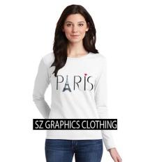 Spesifikasi Sz Graphics Paris Long Sleeve Wanita Kaos Lengan Panjang Wanita T Shirt Wanita Kaos Wanita T Shirt Fashion Wanita T Shirt Kaos Distro Putih Lengkap Dengan Harga