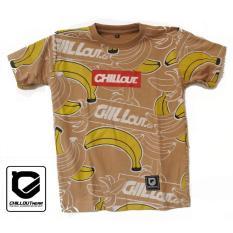 T-Shirt Kaos Doodle Banana Coklat Anak Pria Full Print