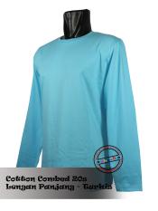 Diskon T Shirt Kaos Lengan Panjang Biru Turkis T Shirt Di Dki Jakarta