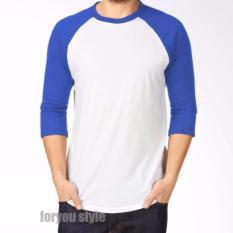 T-Shirt Kaos Polos - Pria/Wanita Lengan 3/4 - Putih Biru