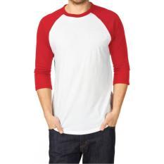 T-Shirt Kaos Polos Reglan Pria/Wanita Lengan 3/4 Dasar Putih Lengan Kombinasi