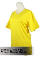 Beli T Shirt Kaos Polos V Neck Kuning Kenari Baru
