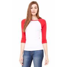 T-Shirt kaos polos Valendia collection's Putih 3/4 Lengan Merah Pria dan wanita