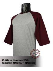 Spesifikasi T Shirt Kaos Raglan Abu Misty Marun Beserta Harganya