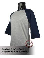 Jual T Shirt Kaos Raglan Abu Misty Navy Satu Set