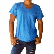 Model T W Casual V Neck T Shirt Biru Terbaru