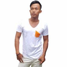 Jual T W Men T Shirt With Orange Pocket Putih T W Online