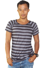 Review Toko T W S*xy Slim Fit T Shirt Stripped Hitam Abu Abu