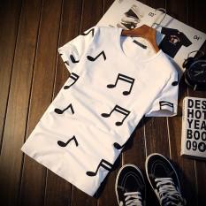 T580P25 Musik Simbol Pria Motif Lengan Pendek T-shirt Jepang Lantai Kayu-Intl