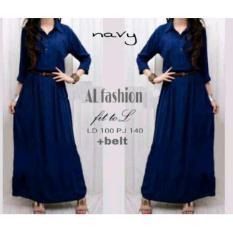 TA-00029 B simpel maxi navy busana muslim gamis baju wanita remaja