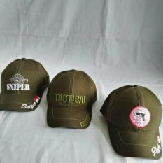 Tactical-Sniper-Glock Cap Green Army/Topi Lapangan Bordir Kanvas - Hwfa5x