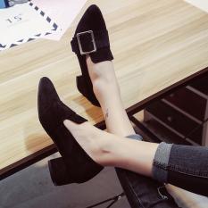 Review Tambah Beludru Baru Musim Gugur Dengan Tebal Dengan Sepatu Sepatu Wanita Hitam