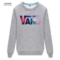 Tambah Beludru Baru Tebal Pria Leher Bulat Sweter Tanpa Kancing Kaos Sweater (Vans-Abu-abu (Konvensional))