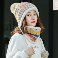 Tambah Beludru Musim Gugur Dan Dingin Lebih Tebal Yang Hangat Wol Topi Topi (Warna Beras)