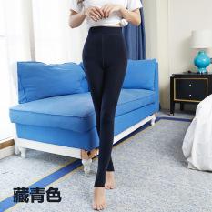 Ulasan Tambah Beludru Pakaian Luar Musim Gugur Dan Dingin Pinggang Tinggi Hangat Celana Legging Biru Tua Baju Wanita Celana Wanita