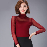 Pusat Jual Beli Korea Benang Benang Kerah Tinggi Kemeja Kecil Baju Dalaman 639 Bagian Tipis Kerah Tinggi Merah Marun Tiongkok