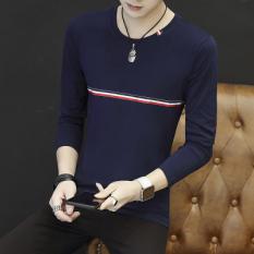 Tren Slim Pada Siswa Pria Kaos Sweater Musim Gugur Lengan Panjang T-shirt (Depan