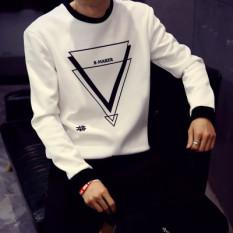 Tambah Beludru Remaja Siswa Lengan Panjang Hangat Baju Musim Gugur Lebih Tebal Kaos Sweater (Shen Segitiga Hitam Bagian Tipis)