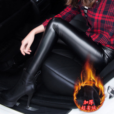 Beli Tambah Beludru Terlihat Langsing Pinggang Tinggi Bagian Tipis Celana Panjang Celana Kulit Pu Kulit Lebih Tebal Super Lembut Beludru Nyicil