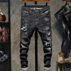 Beli Tambalan Korea Fashion Style Pengemis Slim Keelastikan Celana Panjang Celana Jeans Sobek 701 Model Terbaru