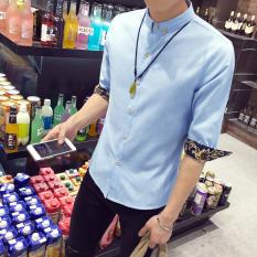 Tampan Korea Modis Gaya Pria Ramping Mahasiswa Lengan Pendek Kemeja Lengan Baju Kemeja (Suasana Langit Biru)