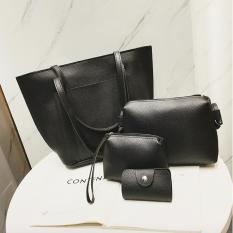 T&T Women Bag Set 4pcs - Tote Bag, Sling bag, Pouch, Card Holder (HITAM/BLACK)