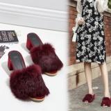 Model Tangnest Baru Musim Gugur Bulu High Heels Wanita Fashion Pep Toe Wedge Sandal Bulu Suede Kulit Luar Soft Platform Sepatu Intl Terbaru