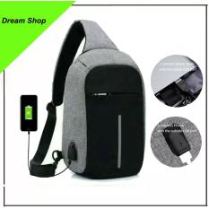 Tas Anti Maling - Chest Bag Pack Casual Anti theft Shoulder Bags Man's Crossbody sling bag Waterproof Polyester Sling Bag - Gray