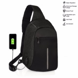 Tas Anti Maling Slempang Chest Bag Anti Theft Usb Charger Waterproof Black Original