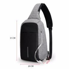 Tas Anti Maling Slempang Non USB With Port Earphone Waterproof - Abu