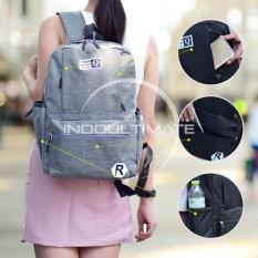 Tas Backpack Pria Wanita Kanvas Punggung Ransel Kuliah Korean Bag Js 0850 Gray Murah