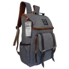 Tas Backpack Pria Wanita Kanvas / Punggung / Ransel Kuliah / Korean Bag LLC7202 - Gray