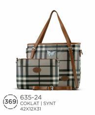 Tas Branded Motif Burberry-Tas Peata Handbag Wanita Bonus Dompet Az
