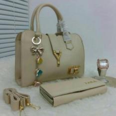 Tas Branded Wanita 3 in 1 - High Quality PU Leather Korean Elegant Bag Style + Wallet  & Jam Tangan Branded