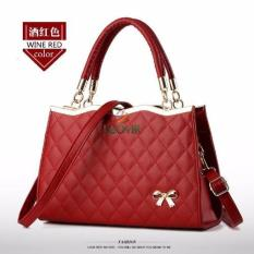 Beli Tas Branded Wanita Top Handle Bags Pu Leather Red 89662 Kredit