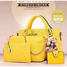 Jual Tas Branded Wanita Top Handle Bags Pu Leather Yellow 34053 4In1 Tas Branded Wanita Asli