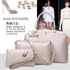 Jual Tas Branded Wanita Top Handle Bags Wristlets Sling Bags Pu Leather Beige 86118 3In1 Import