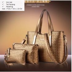 Spesifikasi Tas Branded Wanita Top Handle Bags Wristlets Bag Charms Accessories Pu Leather Gold 87800 3In1 Yang Bagus Dan Murah