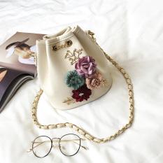 Harga Tas Bahu Wanita Model Serut Versi Korea Fashion Motif Bunga Nasi Putih Fullset Murah