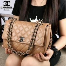 Tas Chanel Yuni Shara Line Black Hardware Like Ori Leather