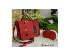 Tas Fashion Branded CK Charles n Keith Jinjing Besi Taiga Warna Merah