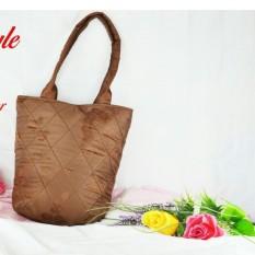 Tas fashion cantik wanita tencel jaquart handbag tas bahu warna silver