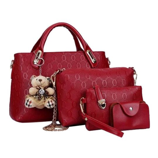 Tas Fashion Wanita - High Quality Korean Style 4in1 - Maroon