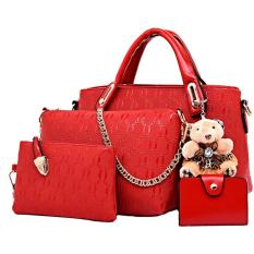 Jual Tas Fashion Import High Quality Korean Style 4In1 Merah Tas Fashion Import Online