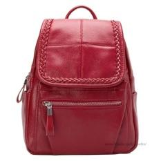 Spesifikasi Tas Fashion Import Tas Ransel Tas Punggung Backpack Travel Bag Wanita 3P Leather Bag Women Red Dan Harganya