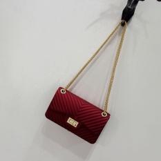 Tas Fashion Remaja dan Dewasa JELLY MATTE chevron 22cm (RED MAROON) HIGH QUALITY