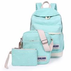 Harga Tas Fashion Tas Paket 3 In 1 Ransel Motif Dot Warna Hijau Termahal